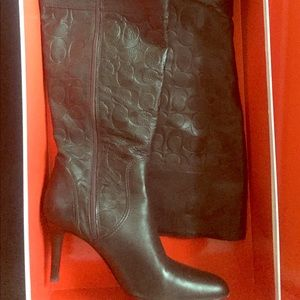 ✨COACH Monogram Brown Leather Knee High Boots